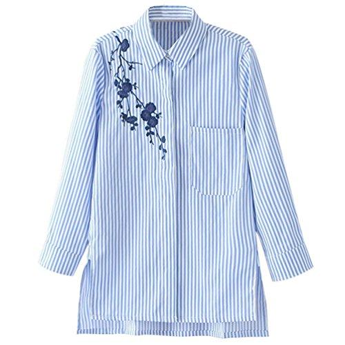 Jitong Mujeres Bordado A rayas T-Shirt Manga Larga Bolsillo Delantero Camisetas Split Blusa Raya