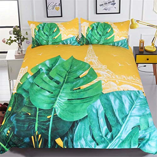 Tower Sanding - King's Bridal Bedding 3 Piece Bed Monstera, Iron Tower - Sanding, Wrinkle, Fade and Stain Resistant Hypoallergenic, Cool Breathable 1 Duvet Cover 2 Pillow Cases