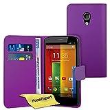 Moto G 2nd gen Case, FoneExpert® Premium Leather Flip Book Wallet Case Cover For Motorola Moto G 2nd gen (2014) + Screen Protector & Cloth (Purple)