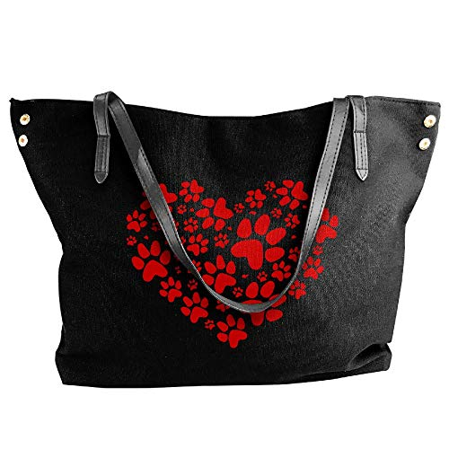 Shoulder Paws Tote Women's Hobo Hearts Handbag Bag Canvas Black Large twHwXqag