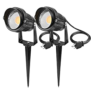 Lemonbest Outdoor Decorative Lamp Lighting 5W COB LED Landscape Garden Wall Yard Path Spot Light w/ Spiked Stand, Pack of 2 Warm White with AC Power Plug