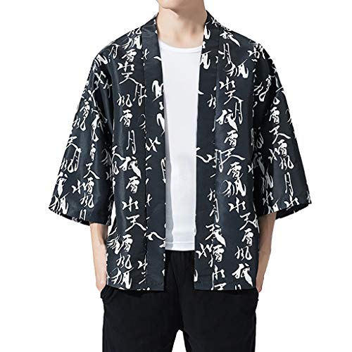 Xlala Fashion for Mens Cardigan National Letter Printing Loose Jacket Short Sleeve Yukata Coat Baggy Lapel Tops - National Letter