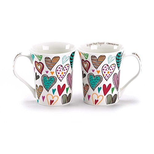 Heart China (Let Your Heart Rejoice Patterned Hearts 13 Ounce Bone China Coffee Mug)
