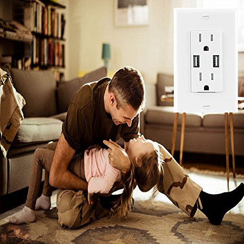 Ecoeler 2 Pack-UL Listed USB Charger Wall Outlet High Speed Dual USB Charger 3.1A Charging Capability 15A Tamper Resistant Duplex Receptacle Child Proof Safety Wall Plate Included by ECOELER (Image #5)
