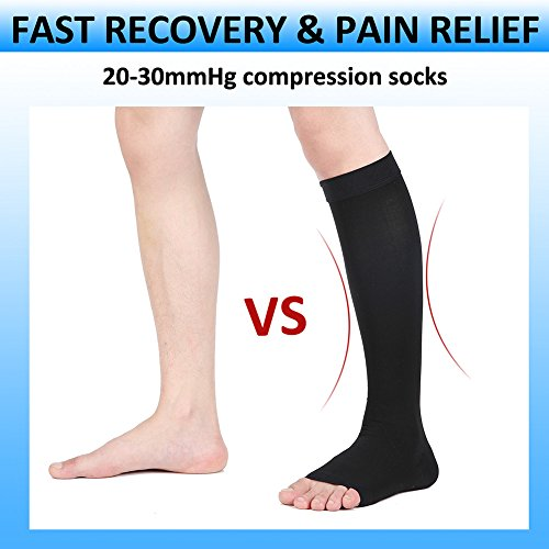 Compression Socks, Open Toe, Medical 20-30 mmHg Graduated Compression Stockings for Men Women, Knee High Compression Sleeves for Pregnancy, Varicose Veins, Relief Shin Splints, Nursing, Edema, Sports by MGANG (Image #6)