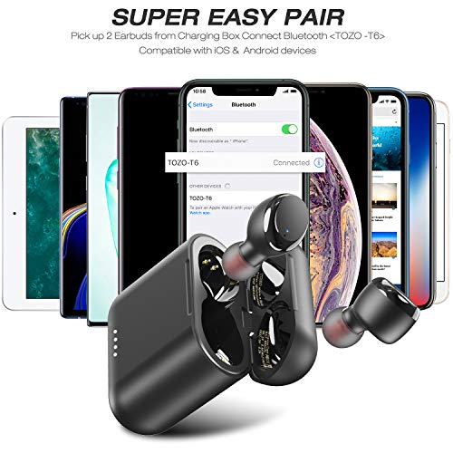 TOZO T6 True Wireless Earbuds Bluetooth Headphones Touch Control with Wireless Charging Case IPX8 Waterproof TWS Stereo Earphones in-Ear Built-in Mic Headset Premium Deep Bass for Sport Black
