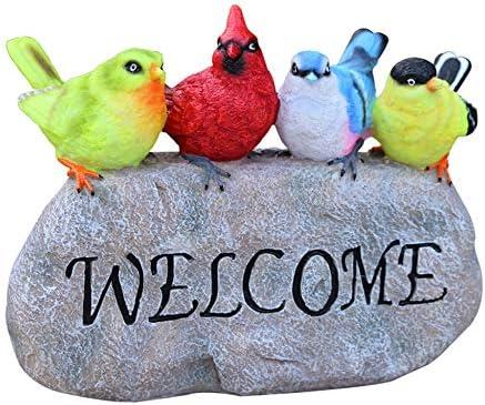 Jardín Decoración De Pájaros Lindos Adornos Estatuas De Animales Placas De Bienvenida Artesanal De Resina Decorativa A Prueba De La Intemperie Para Escultura Al Aire Libre Patio Césped Decorativo,A: Amazon.es: Jardín