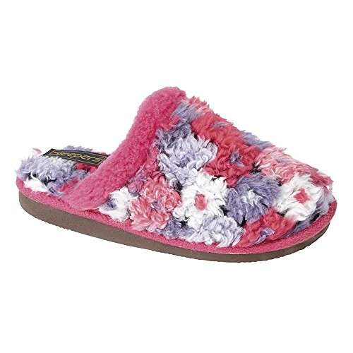 Sleepers Womens/Ladies Karlie Floral Thermal Lined Mule Slippers Fuchsia 6R4vM8