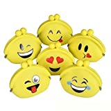 Silicone Emoticon Coin Purse - 6 Pack - 3.75 X 3.50 Inches - Mini Multi-Purpose Rubberize Pouch Bag for Spare Change, Keys, Jewelry, Cash, Cards, ID, Receipts - Party Giveaways, Gifts, Penny Bank