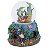 Dolphin in Coral Rotating Base 100mm Globe 100MM Music Water Globe Plays Tune Ebb Tide