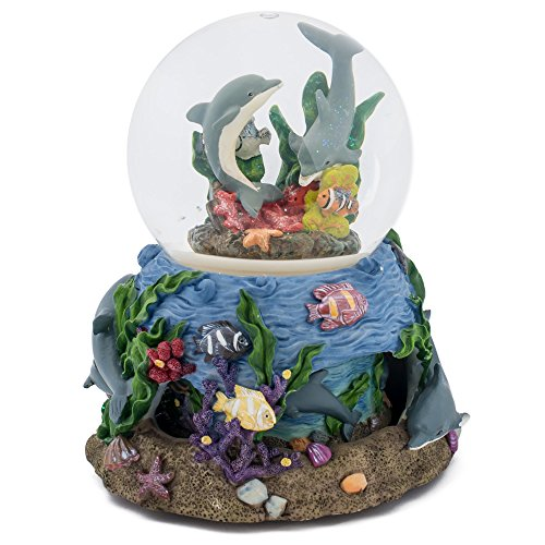 Rotating Base Coral Dolphin Snow Globe