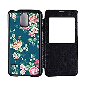 Generic Custom Picture Flower Pattern Flip Hard PC Snap On Skin Cover Back Cell Phone Case For Samsung Galaxy S5 by runtopwell