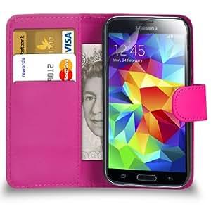 123 Online Samsung Galaxy i9505 S5 rosa fuerte Cartera de cuero del caso del tirón bolsa de la cubierta + Protector de pantalla y paño de pulido