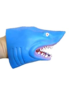 Assorted Color Soft Rubber Great White Hand Puppet Shark, 6 Inch