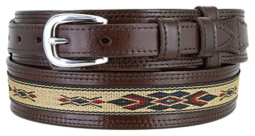 Mens Genuine Leather Ranger Belt with Southwestern Woven Diamond Pattern Accent (36 Brown) (Ranger Belt Buckle)