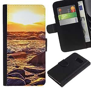 KLONGSHOP // Tirón de la caja Cartera de cuero con ranuras para tarjetas - Sunset Waves - Sony Xperia Z3 Compact //