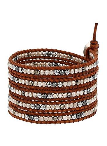 Chan Luu Hematine Mix Beaded Wrap Bracelet on Brown Leather by Chan Luu