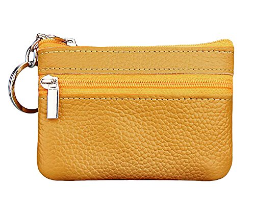 ETIAL Womens Genuine Leather Zip Mini Coin Purse w/Key Ring (Yellow)