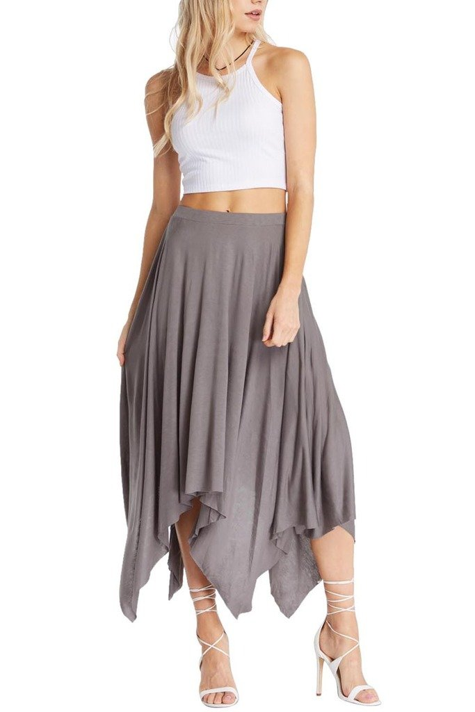 Womens Fashion Handkerchief Uneven Jersey Knit Comfy Soft High Waist Flare Midi Dance Skirt USA GY L