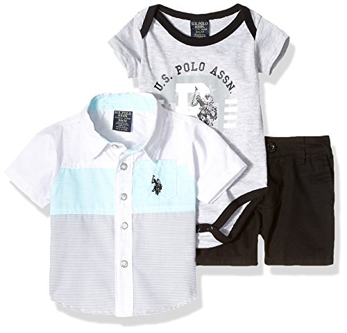 (U.S. Polo Assn. Baby Boys Short Sleeve Shirt, T-Shirt Pant Set, Printed El Black Short Multi Plaid, 6-9 Months)