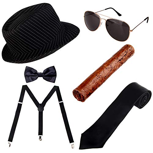 1920s Mens Accessories Manhattan Hat, Y-Back Suspenders & Pre Tied Bow Tie, Gangster Tie,Toy Cigar & Sunglasses (D) for $<!--$17.99-->