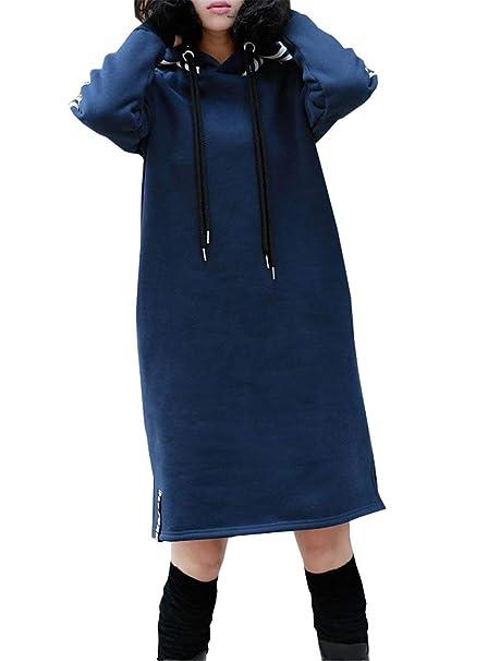 Mujer Vestidos Otoño Invierno Casual Manga Larga Vestidos con Capucha Sencillos Vintage Rayas Empalme Abiertas Vestidos Vestidos De Camisa Vestidos ...