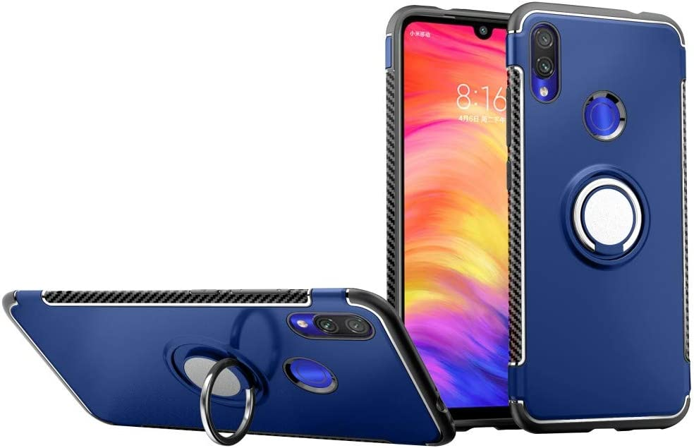 Case for Xiaomi Redmi Note 7 DWaybox Hybrid Back Case with 360 Degree Rotation Ring Holder for Xiaomi Redmi Note 7//Redmi Note 7 Pro 6.3 Inch Compatible with Magnetic Car Mount Holder Navy