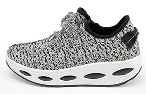 VECJUNIA Ladies Breathable Lace Up Low Top Platform Anti-Skid Fabric Sports Sneakers Black 3G8LhMgow