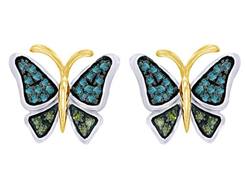 1/6 CT Round Cut Natural Green Diamond Butterfly Stud Earrings in 14K White Gold Over Sterling Silver by Wishrocks