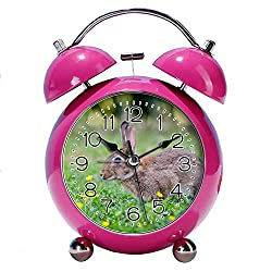 GIRLSIGHT 4 Twin Bell Alarm Clock with Fun Animal Dial, Backlight, Battery Operated Loud Alarm Clock 203.Brown Rabbit(red)