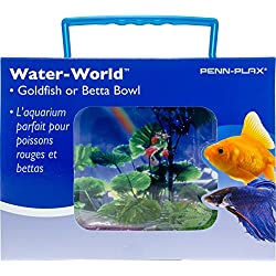PENN PLAX (NWK25) Goldfish Betta Fish Bowl With Decorations Plastic 1.25 Gallon Bowl With Lid