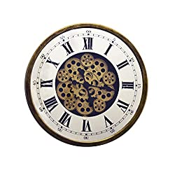 IMPORTED GIFT DEPOT Skeleton Wall Clock with Roman Numerals On Mirrored Glass with Moving Gears