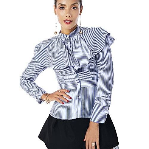 Stripe Print Long Sleeve Button Down Shirts Blouses With Overlay Ruffles,Saphire Blue Stripe,XL ()