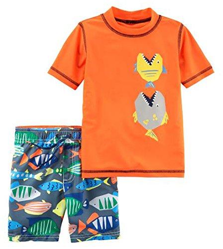 Carter's Boys' Toddler Rashguard Set, Orange Fish, 2T