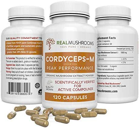 Cordyceps-M Peak Performance (120caps) Organic Cordyceps Militaris Mushroom Supplement Capsules, Cordyceps Mushroom Complex Immune Booster Pills, 60-Day Supply of Cordyceps Medicinal Mushrooms Extract