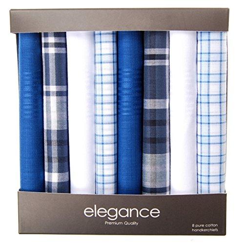 - Retreez 8 Piece Pure Cotton Assorted Men's Handkerchiefs Hanky Gift Box Set, Christmas gift - Assorted Set 001