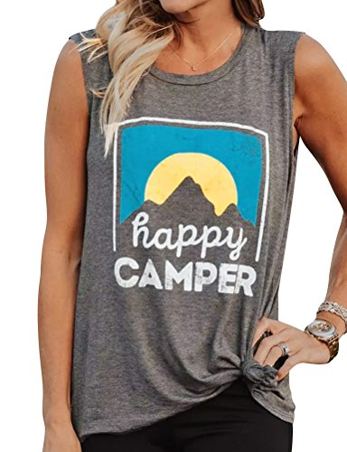 - Nlife Women's Casual Tank Top Happy Camper Letter Print O-Neck Sleeveless Pullover T-Shirt (US XL, Grey)