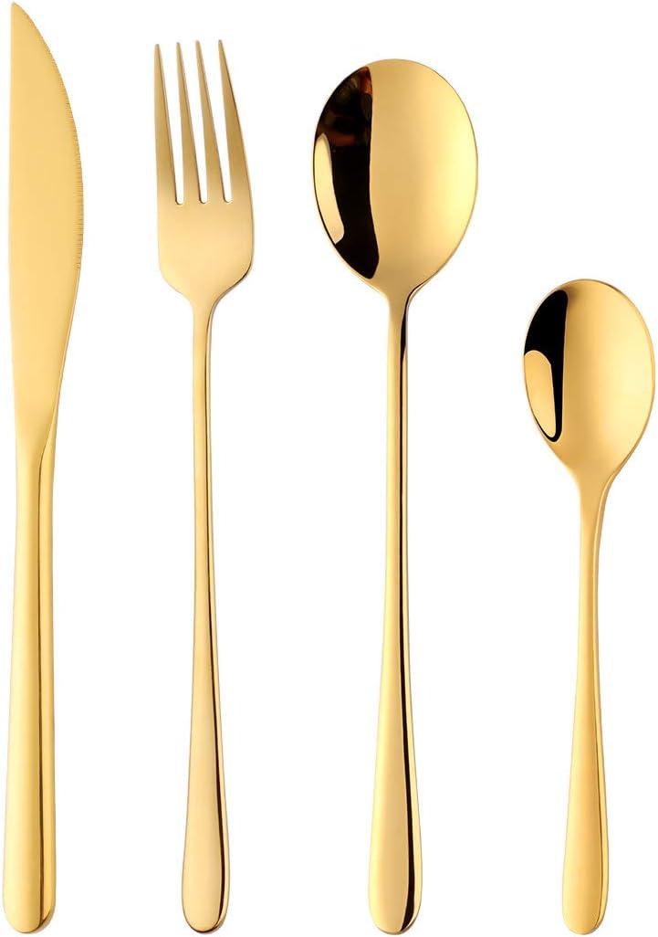 Flatware Set, 16 Piece Stainless Steel Tableware Dinner Knife, Fork, Spoon, Tea Spoon Cutlery by Buy THINGS! (Gold)