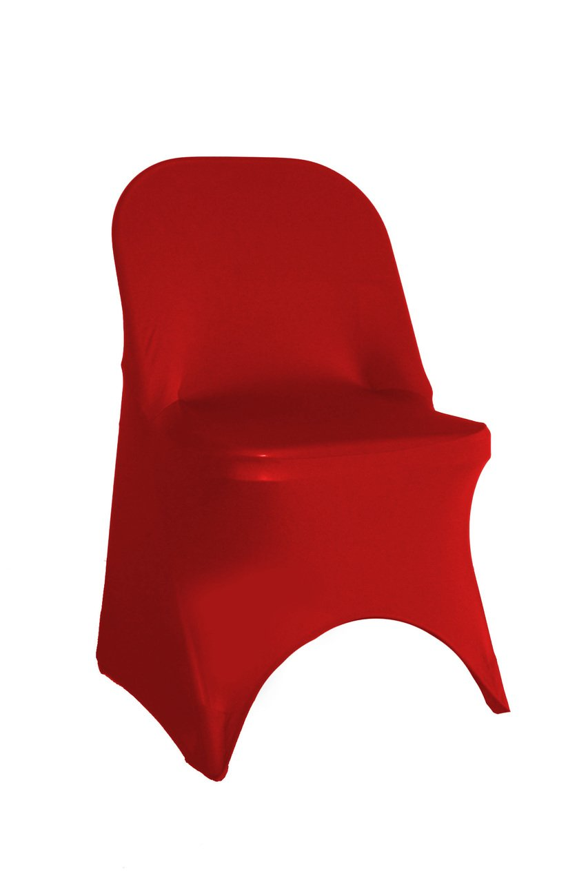 50 Pack Stretch Spandex Folding Chair Covers Red for Wedding, Patio, Party