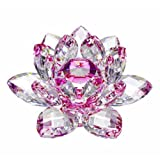 Amlong Crystal Hue Reflection Crystal Lotus Flower with Gift Box, Pink, 3-Inch