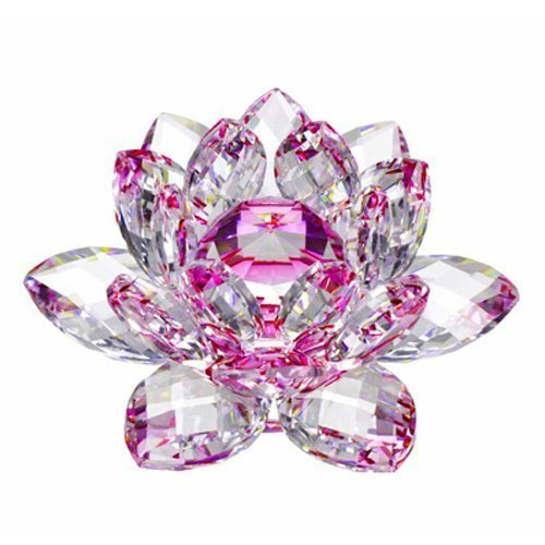 Amlong Crystal Hue Reflection Crystal Lotus Flower with Gift Box, Pink, 3-Inch (Topaz Cut Glass)