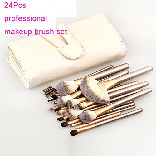 (24 Pcs Makeup Brush Set Professional Wood Handle Premium Synthetic Kabuki Foundation Blending Blush Concealer Eye Face Liquid Powder Cream Cosmetics Lip Brush Tool Brushes Kit)