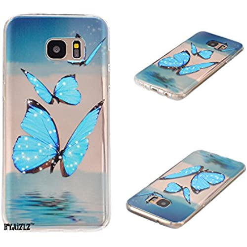 Galaxy S7 Edge Case,S7 Edge Case,HYAIZLZ(TM)Ultra Thin Clear Soft TPU Back Case for Galaxy S7 Edge,Blue Butterfly Sales