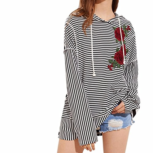 Han Shi Embroidery Blouse, Women Floral Striped Long Sleeve Casual Hooded Shirt Tops (S, Black) by Han Shi