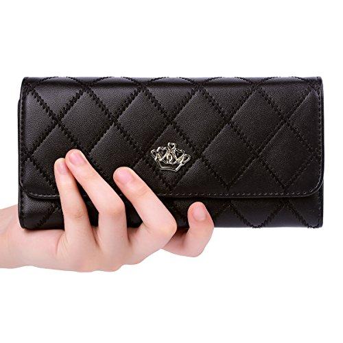 Jastore Elegant Lady Women Clutch Crown Wallet Long Purse Leather Wallet (Black) (Elegant Purse)