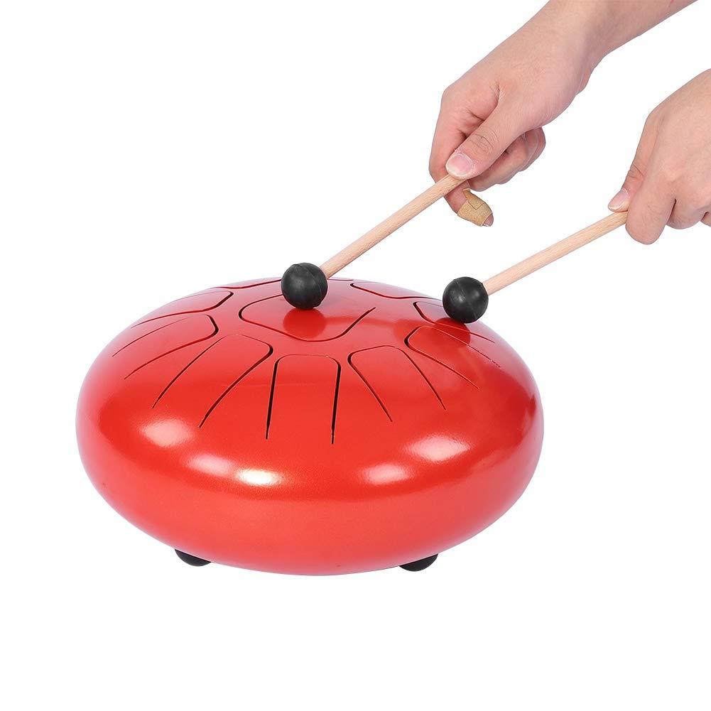 12 Pulgadas Acero Tambores de Mano Handpan Drum Instrumento de Percusi/ón con Bolsa de Transporte y Baquetas de Tambor Dilwe Tambor de Lengua Rojo