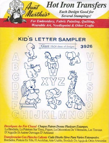 Kid's Letter Sampler Aunt Martha's Hot Iron Embroidery Transfer