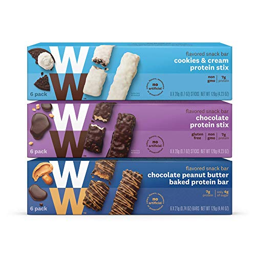 WW Protein Stix Variety Pack – Chocolate, Cookies and Cream & Chocolate Peanut Butter – Protein Snack Bars, 2-3 SmartPoints – 6 of Each Flavor (18 Count Total) – Weight Watchers Reimagined