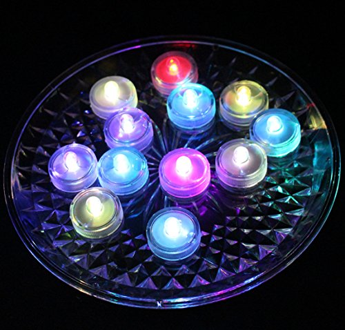 Jofan 24pcs Multicolor High Quality LED Submersible Light Waterproof Tealights LED Sub Lights for Wedding Party Centerpiece Decoration (Little Underwater Lights)