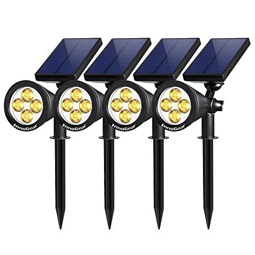 InnoGear Upgraded Solar Lights 2-in-1 Waterproof Outdoor Landscape Lighting Spotlight Wall Light Auto On/Off for Yard Garden Driveway Pathway Pool, Pack of 4 (Warm Light)